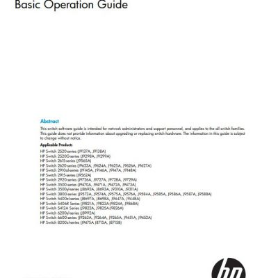 hp switch software basic operation guide
